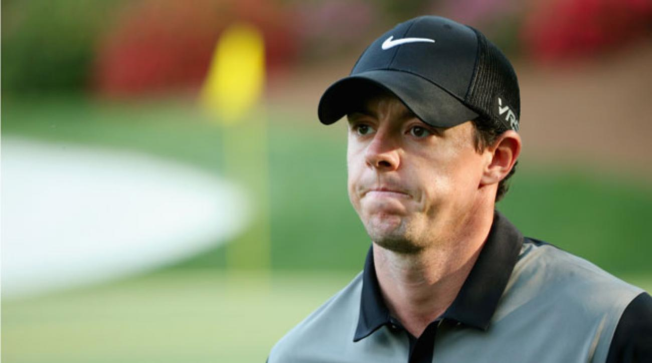 Rory McIlroy double-bogyed the 240-yard par-3 on Friday and finished the day at +4.