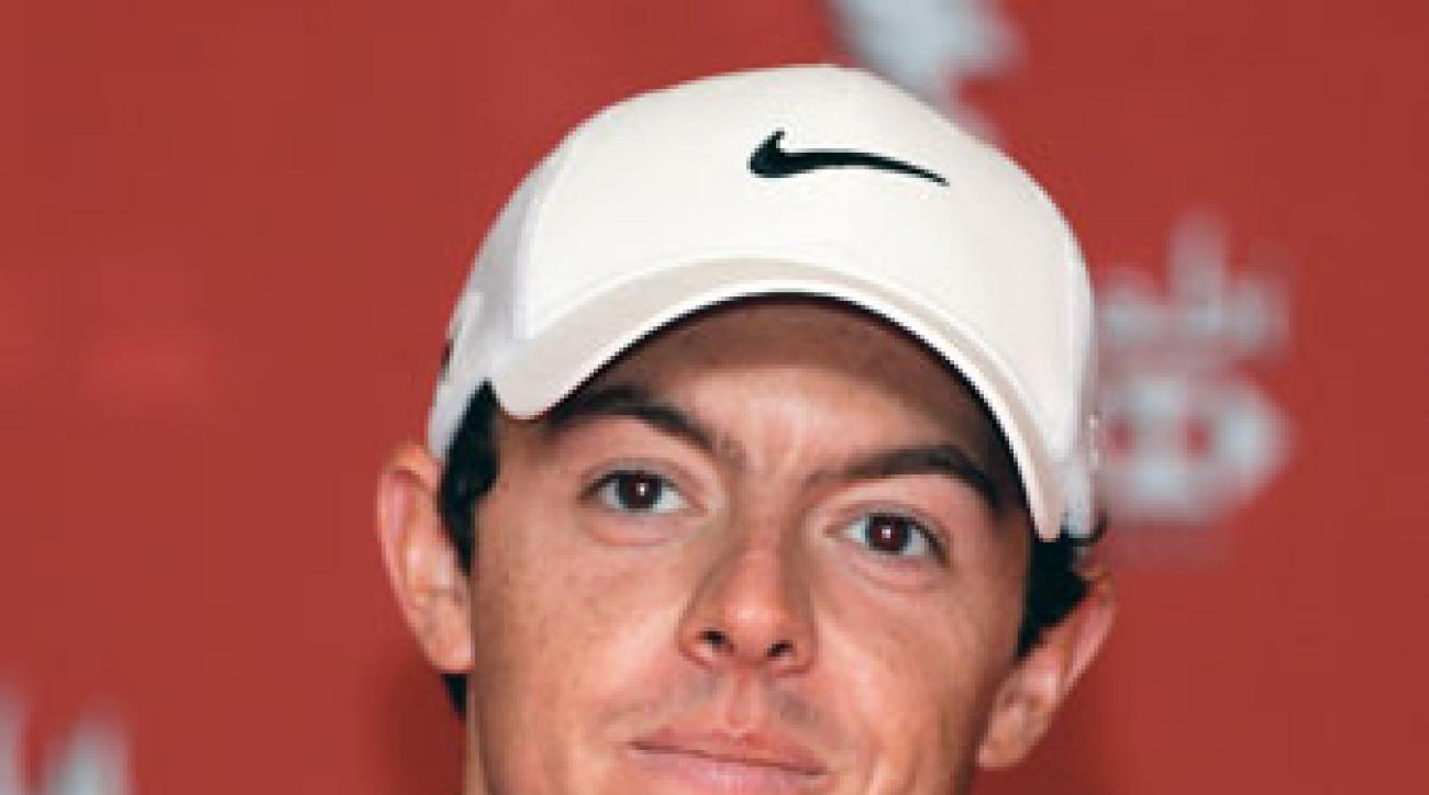 Rory McIlroy speaks to the press at Abu Dhabi.