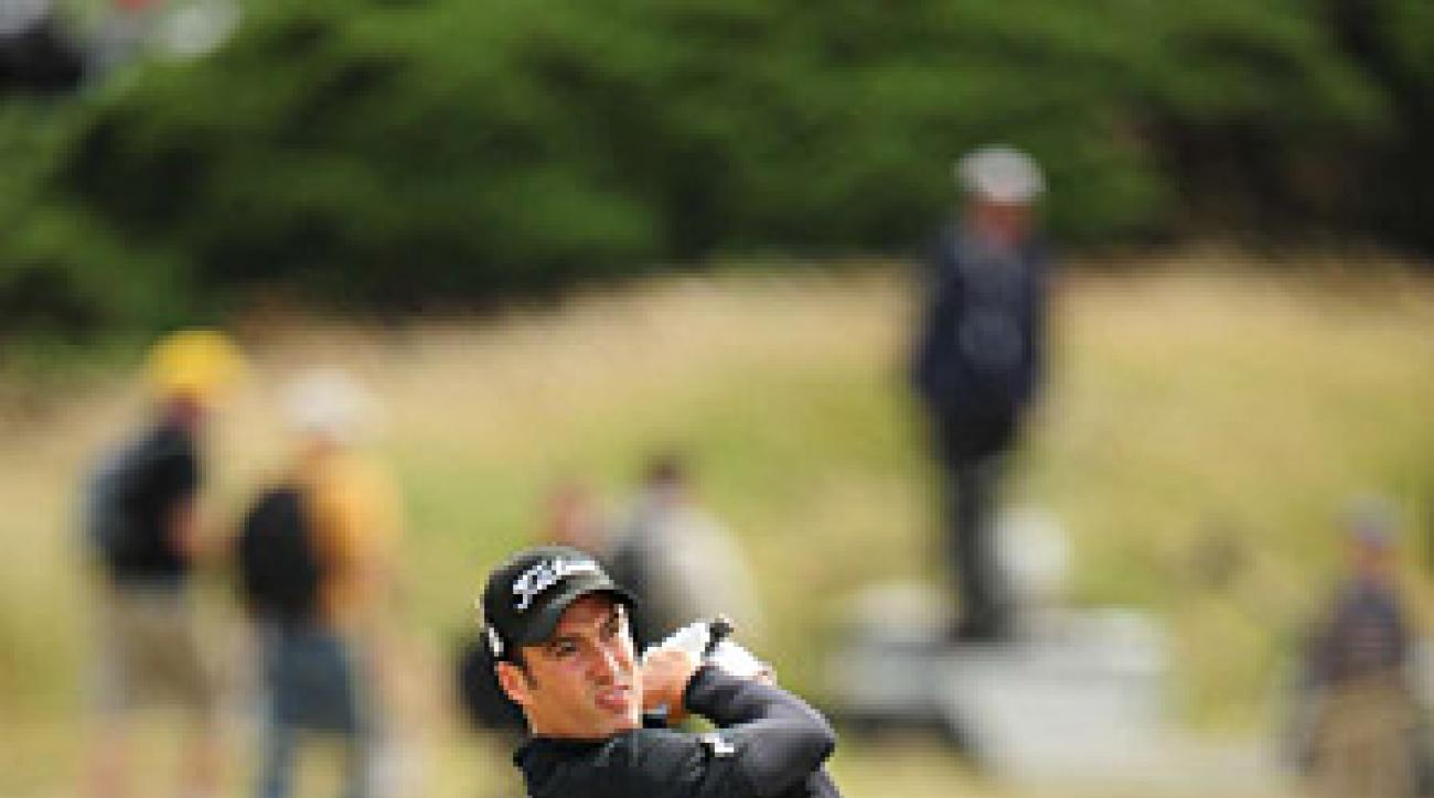 Ross Fisher is three under, tied with Mathew Goggin and a shot behind Tom Watson.