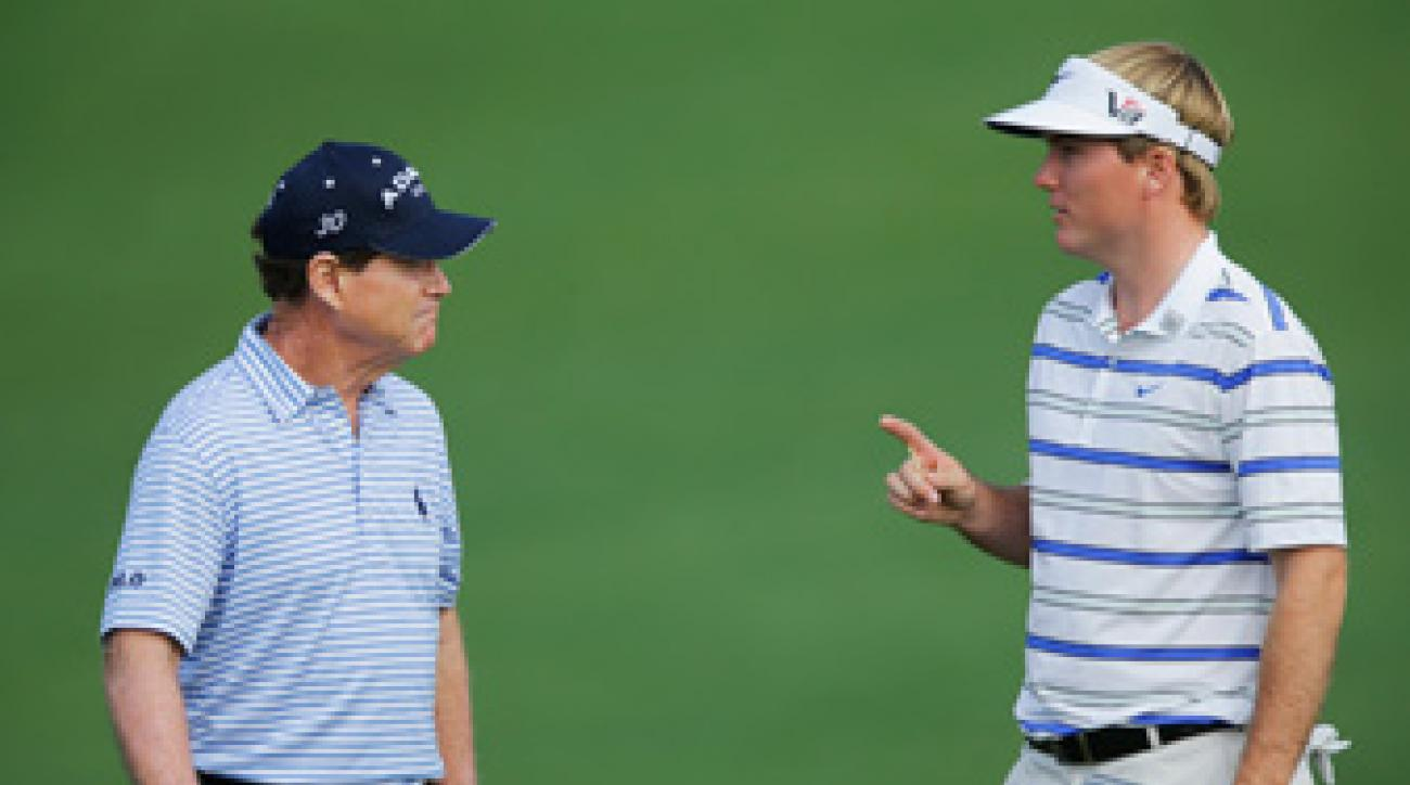 Russell Henley, right, played a practice round with Tom Watson on Monday.