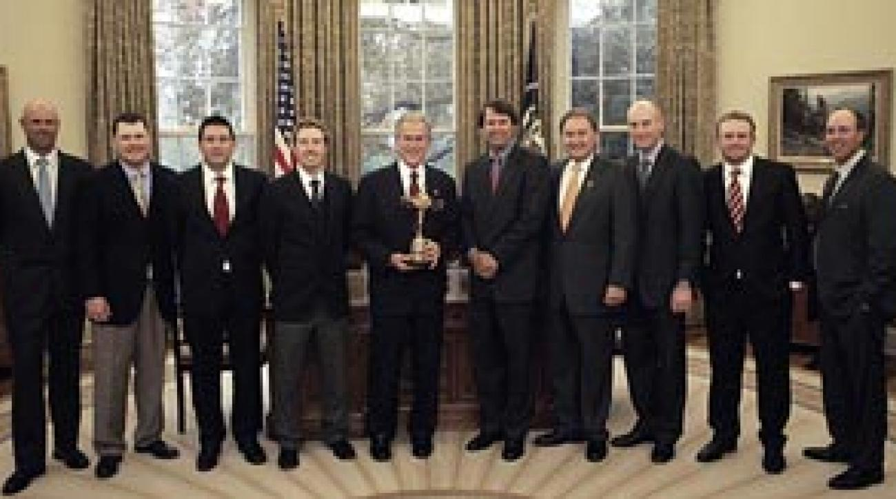 President George W. Bush met members of the 2008 U.S. Ryder Cup team in the Oval Office on Monday. From left: Stewart Cink, Chad Campbell, Ben Curtis, Hunter Mahan, Bush, captain Paul Azinger and assistant captain Raymond Floyd, Jim Furyk, J.B. Holmes and Boo Weekley.
