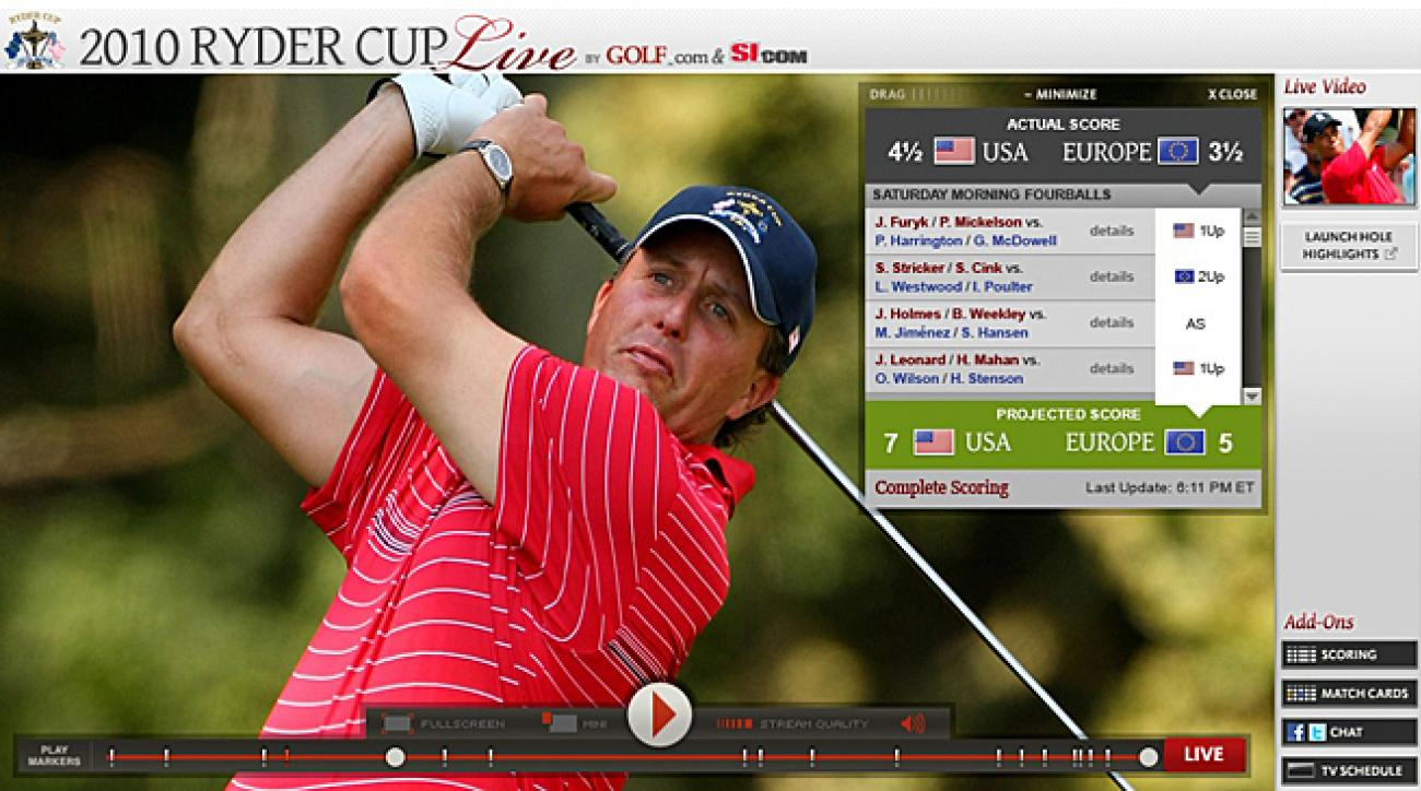 2010 Ryder Cup Live Video Player.
