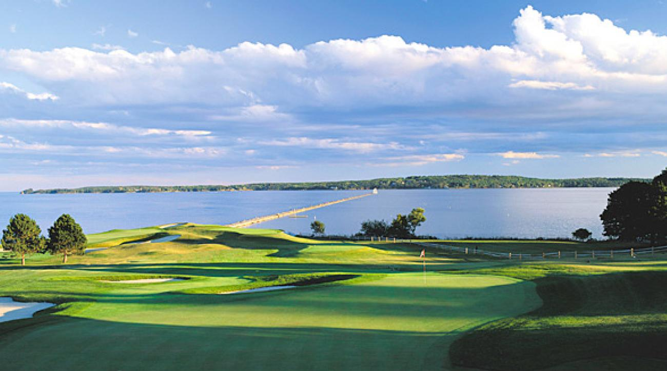 The 185-yard, par-3 fifth hole at Samoset Resort.