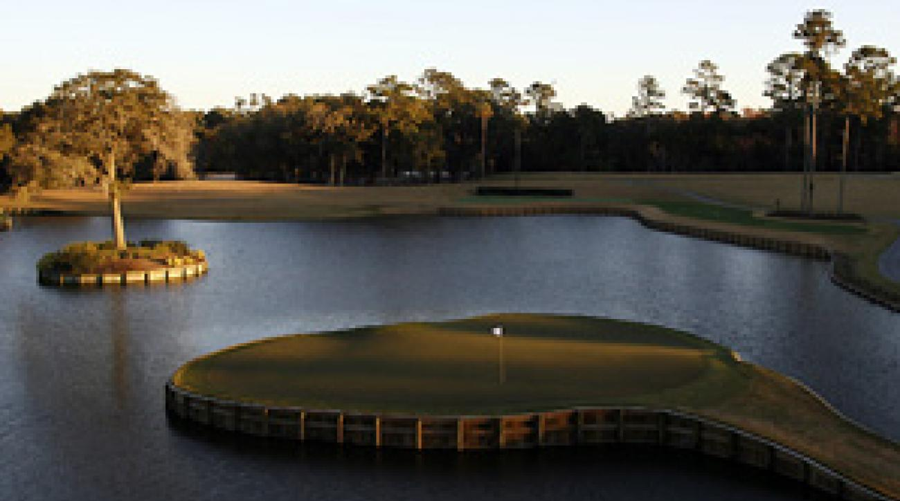 The par-3 17th at TPC Sawgrass.
