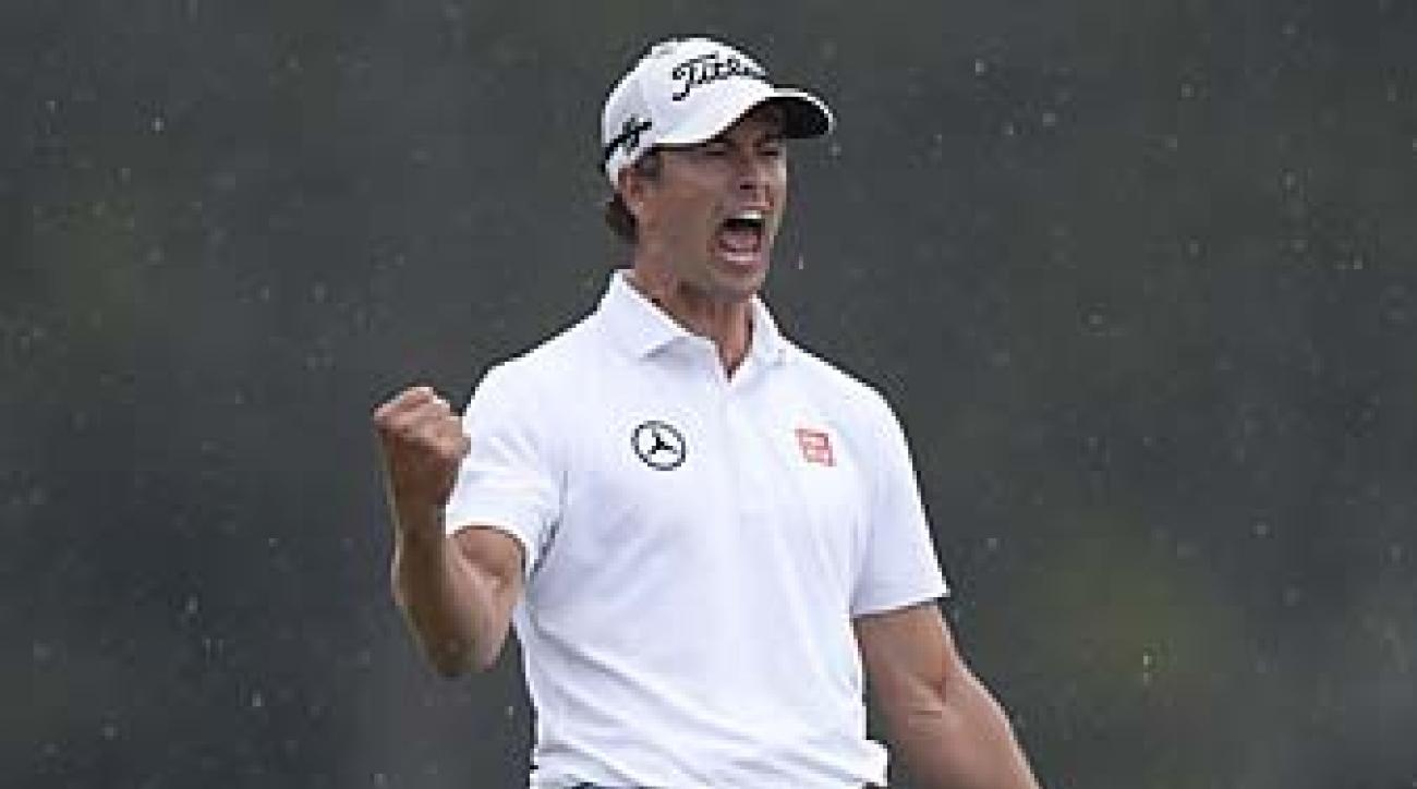 "Adam Scott celebrates after making birdie on the 72 hole of the 2013 Masters. ""On 18, for a second, I kind of let myself think I had won,"" Scott said."