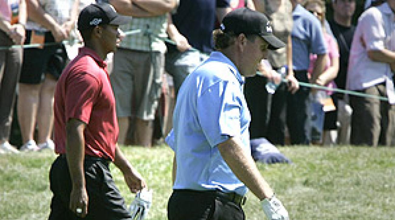 Woods and Mickelson will play together Thursday and Friday at the Tour Championship.