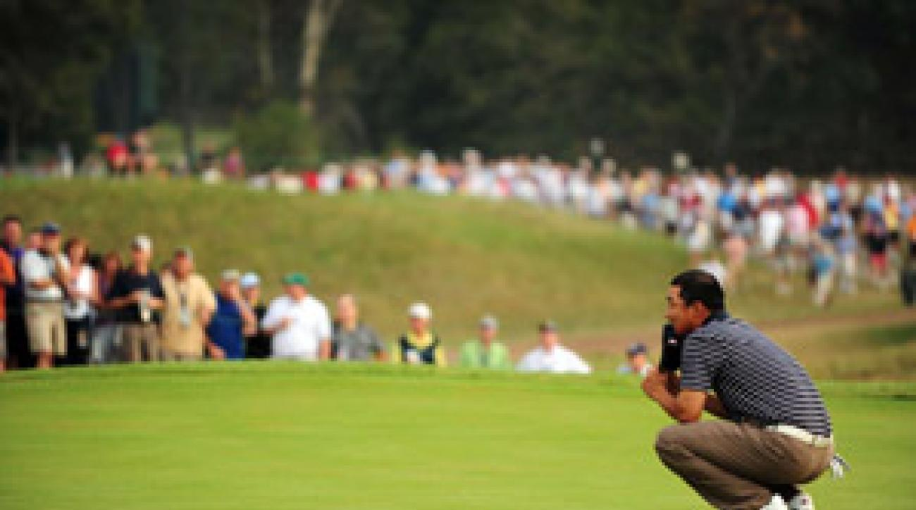 Anthony Kim and Phil Mickelson lost a big lead in their match.