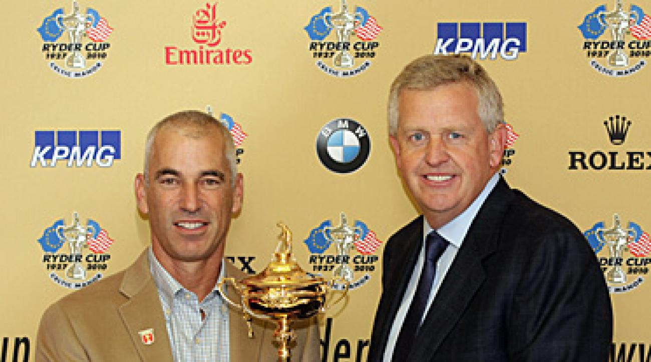 Ryder Cup Captains Corey Pavin (left) and Colin Montgomerie (right) at Cardiff Airport in Wales Monday morning.