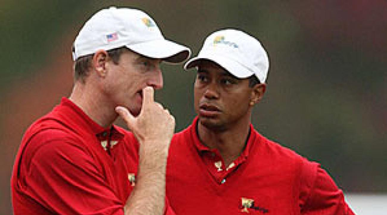 Jim Furyk and Tiger Woods will take on Vijay Singh and Stuart Appleby on Friday.