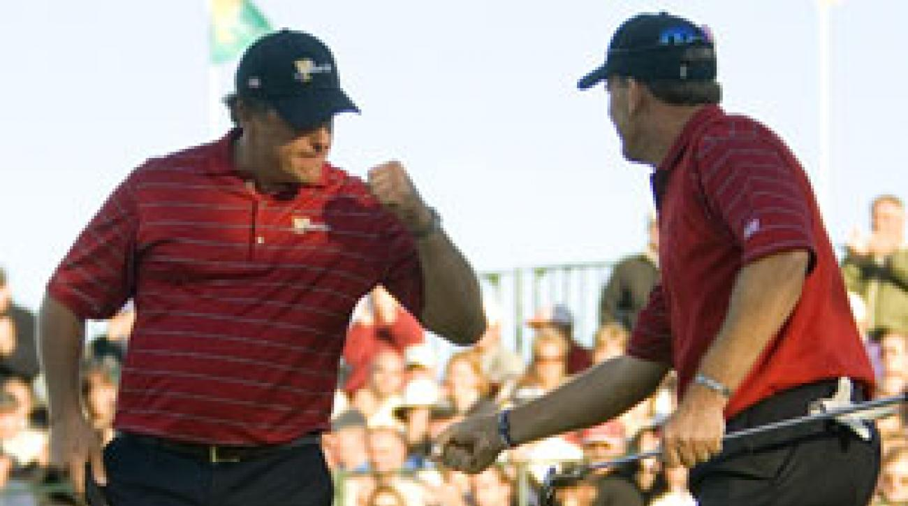 Phil Mickelson and Woody Austin won 1 1/2 points for the U.S.