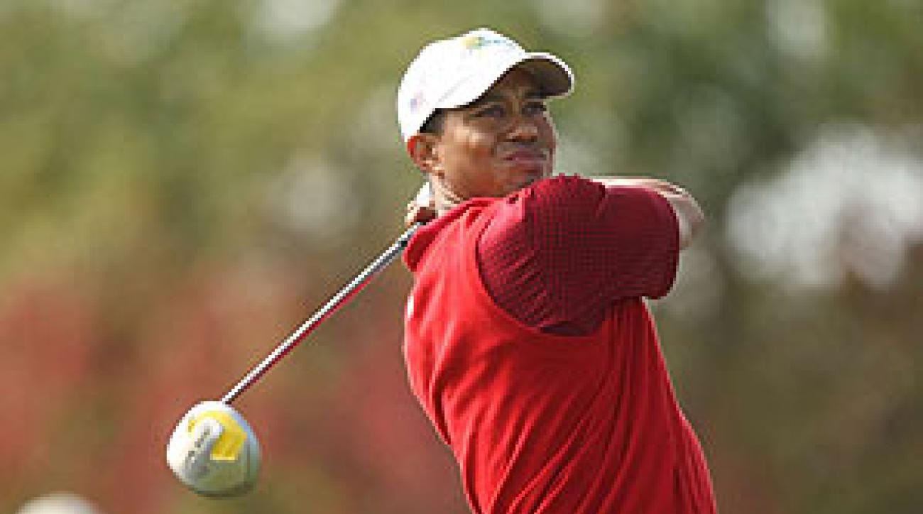 Woods played against International team member Mike Weir on Sunday.