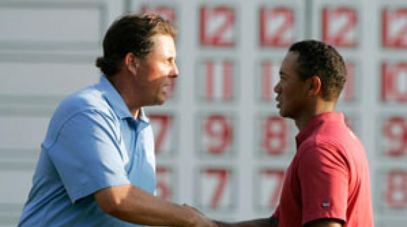 Phil Mickelson finally beat Tiger Woods head-to-head.