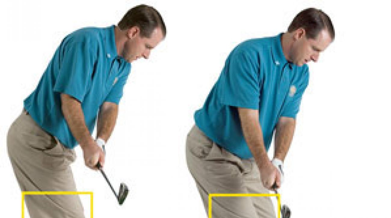 BAD [left] Keep your hips still and you'll end up in a reverse pivot at the top.                 <br />                 GOOD [right] Turn just enough so your left knee moves in front of the right.