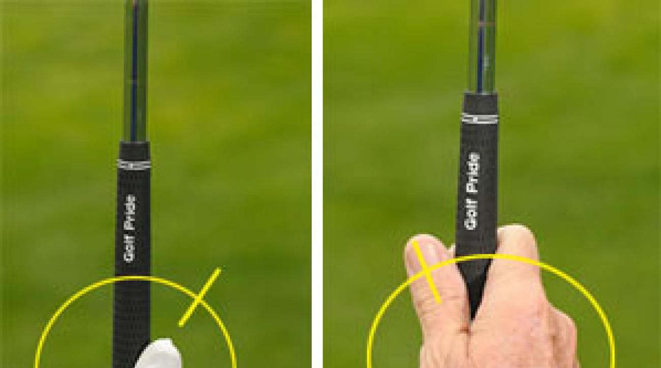 Point your left thumb at 1 o'clock and turn your wrist (but not the club) more to the right for draws and the left for fades (<i>left</i>). Regardless of the type of shot you're trying to hit, make sure your right thumb points to 11 o'clock (<i>right</i>).