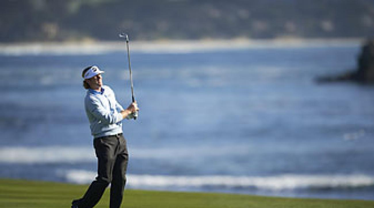 Brandt Snedeker in the final round of the AT&T Pebble Beach National Pro-Am in February 2013. Snedeker won the tournament, but strained a muscle in his rib cage that week and finished the final round in severe pain.