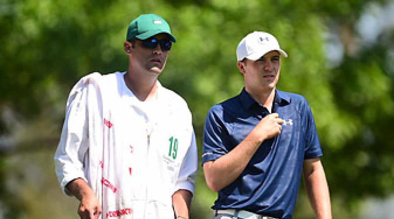 Jordan Spieth and caddie Michael Greller during the Masters third round at Augusta National on Saturday.