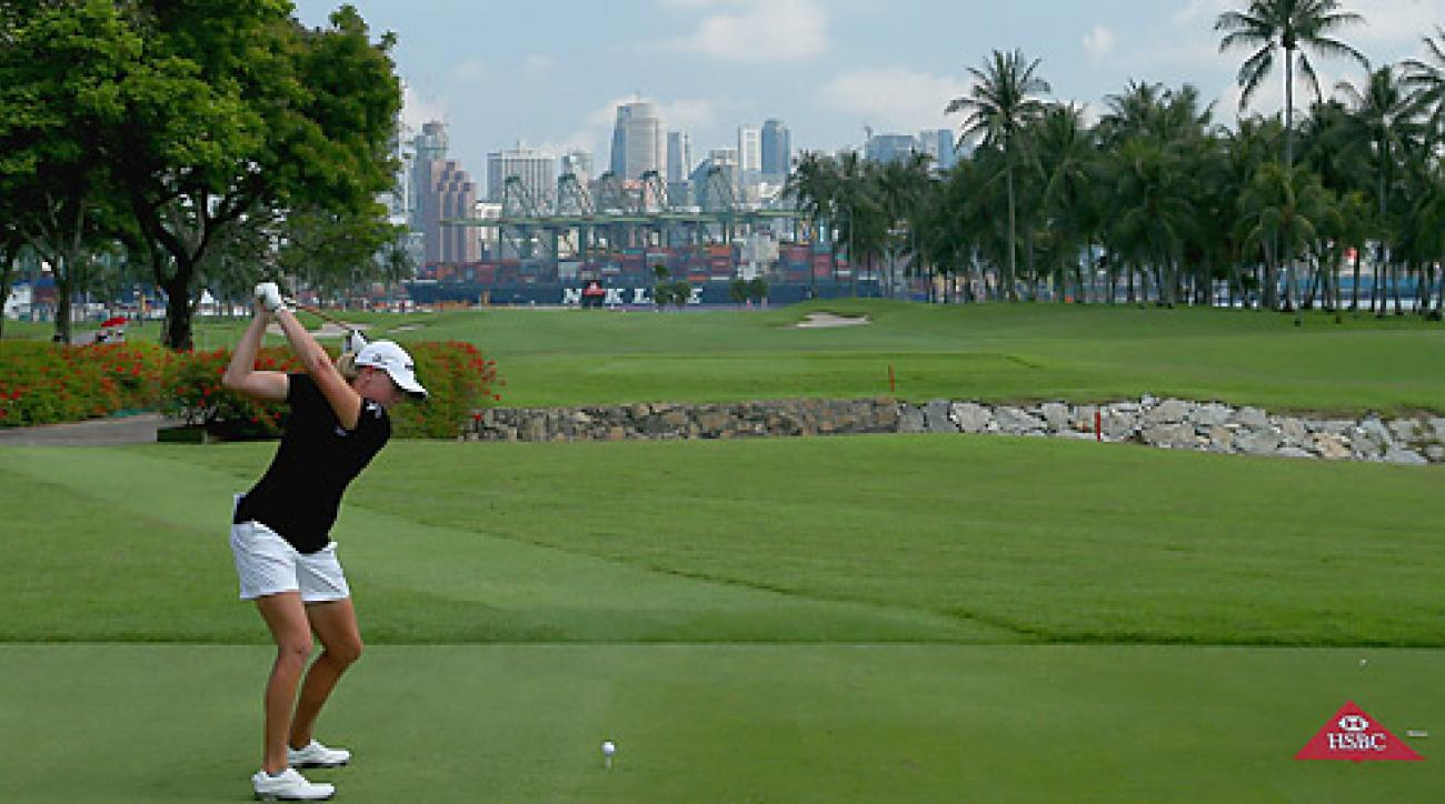 The 2012 LPGA Player of the Year, Lewis shot a second-round 66 to take a two-stroke lead.