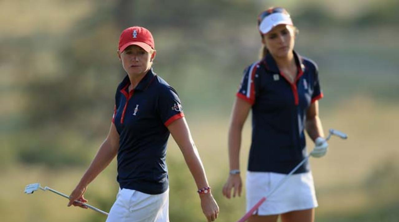 Stacy Lewis and Lexi Thompson lost their afternoon fourball match Friday at the Solheim Cup. Afterward, Lewis complained about a 25-minute delay on the 13th hole.