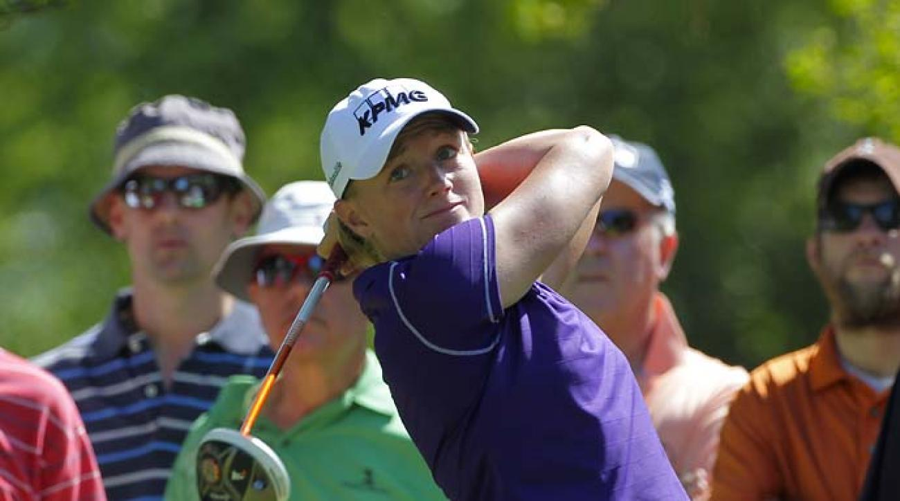 Stacy Lewis hits her tee shot on the ninth hole during the second round Saturday of the ShopRite LPGA Classic presented by Acer on the Bay Course at the Stockton Seaview Hotel & Golf Club near Atlantic City, N.J.