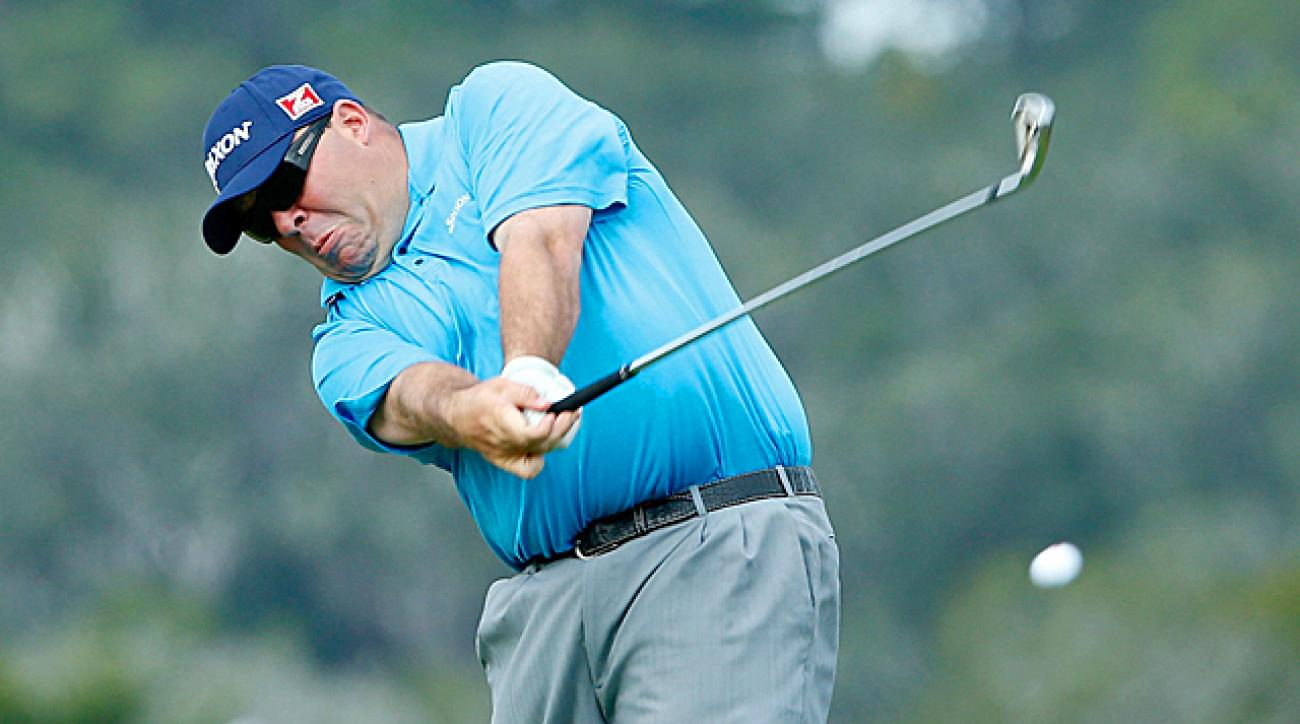 Kevin Stadler was tied for the lead at 12 under when play was called for the day.