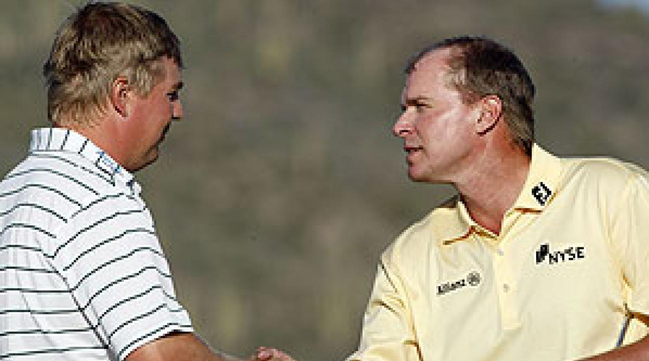 Steve Stricker lost to Ross McGowan in the first round.