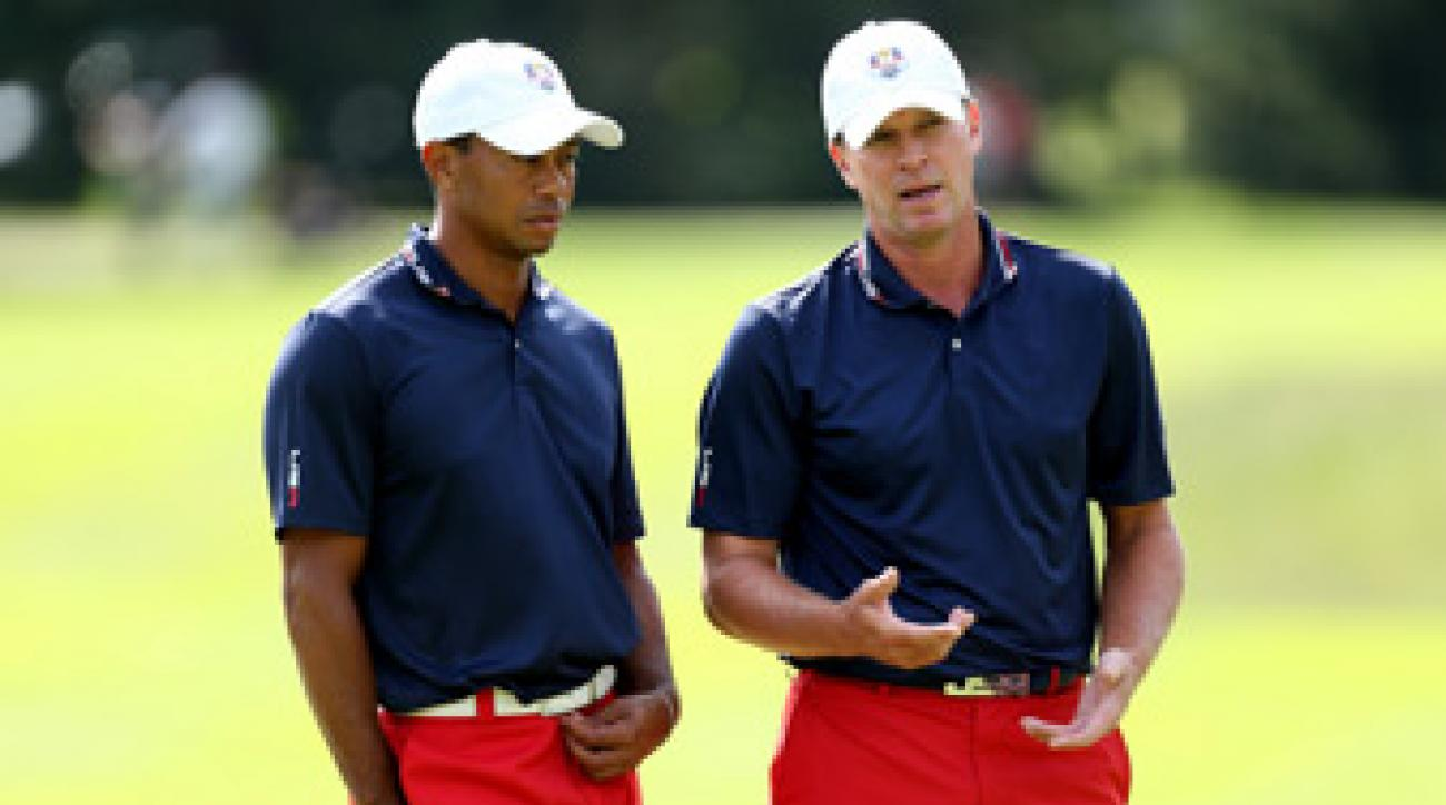Steve Stricker, right, and Tiger Woods will likely be paired together this week.