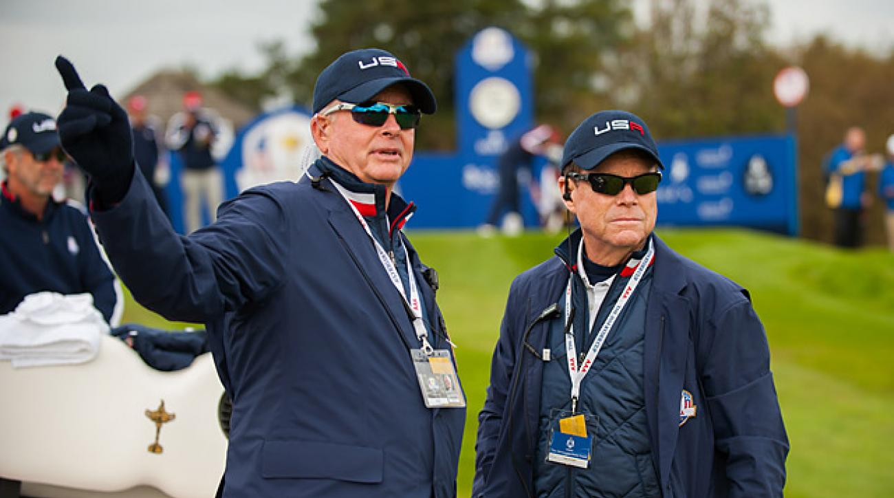 PGA of America President Ted Bishop (left) with Tom Watson at the 2014 Ryder Cup.