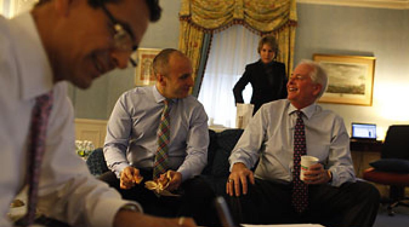 Then PGA of America President Ted Bishop                 with CEO Pete Bevacqua and communications director Julius Mason at New York's Waldorf Astoria in 2012.