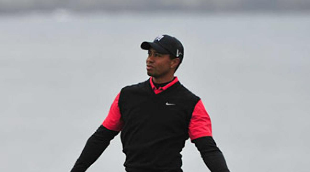 Tiger Woods was in contention at Pebble Beach, which helped to double TV ratings compared to last year.