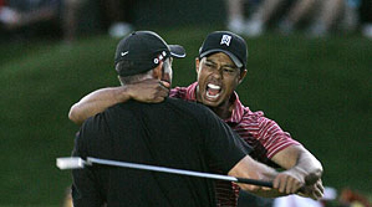 The exhilaration of Woods and caddie Steve Williams was shared by NBC, which reaped the highest rating for a nonmajor in two years.
