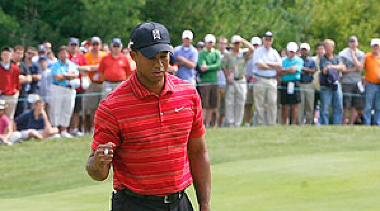 Tiger Woods shot 63 on Sunday.