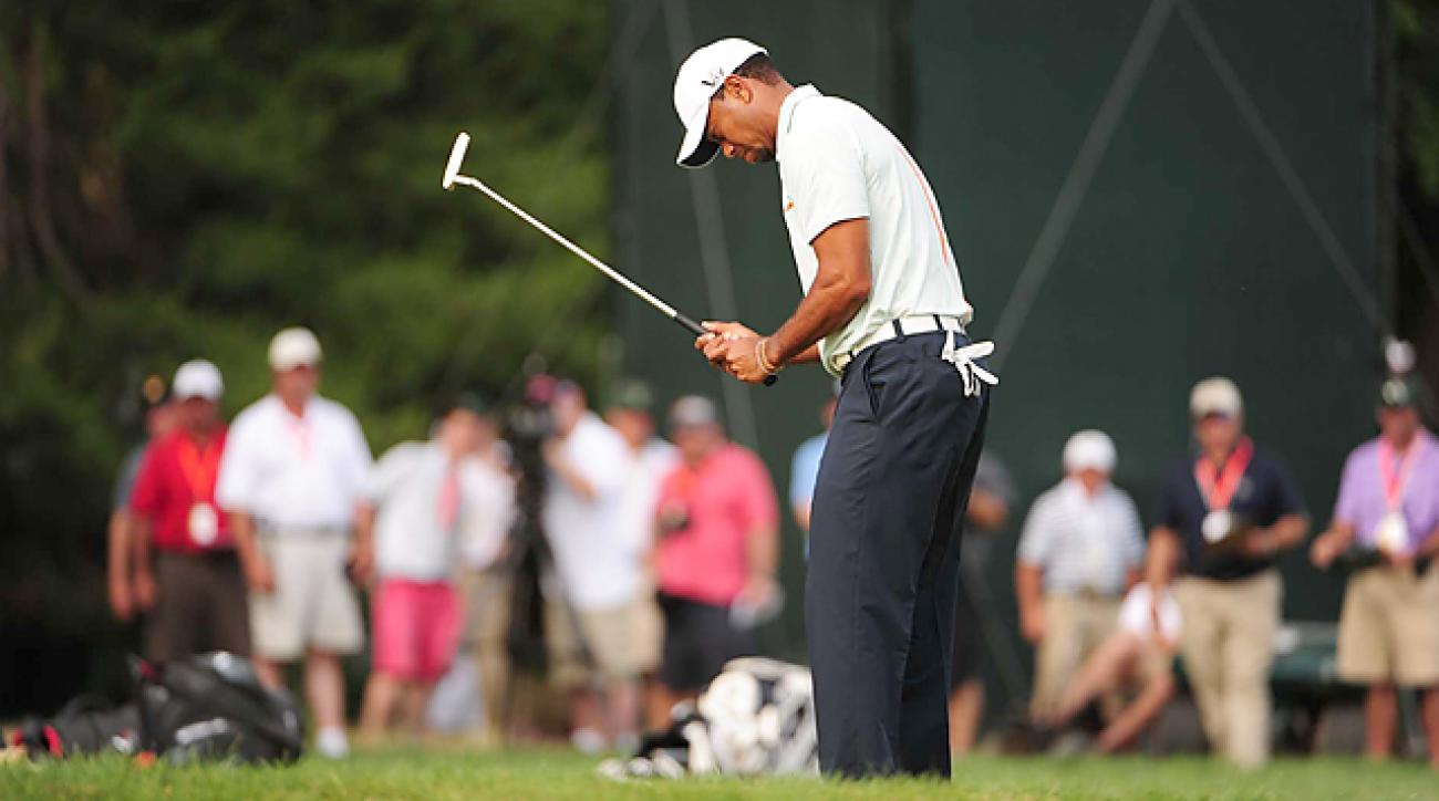 Woods shot himself out of contention with a 76 Saturday.