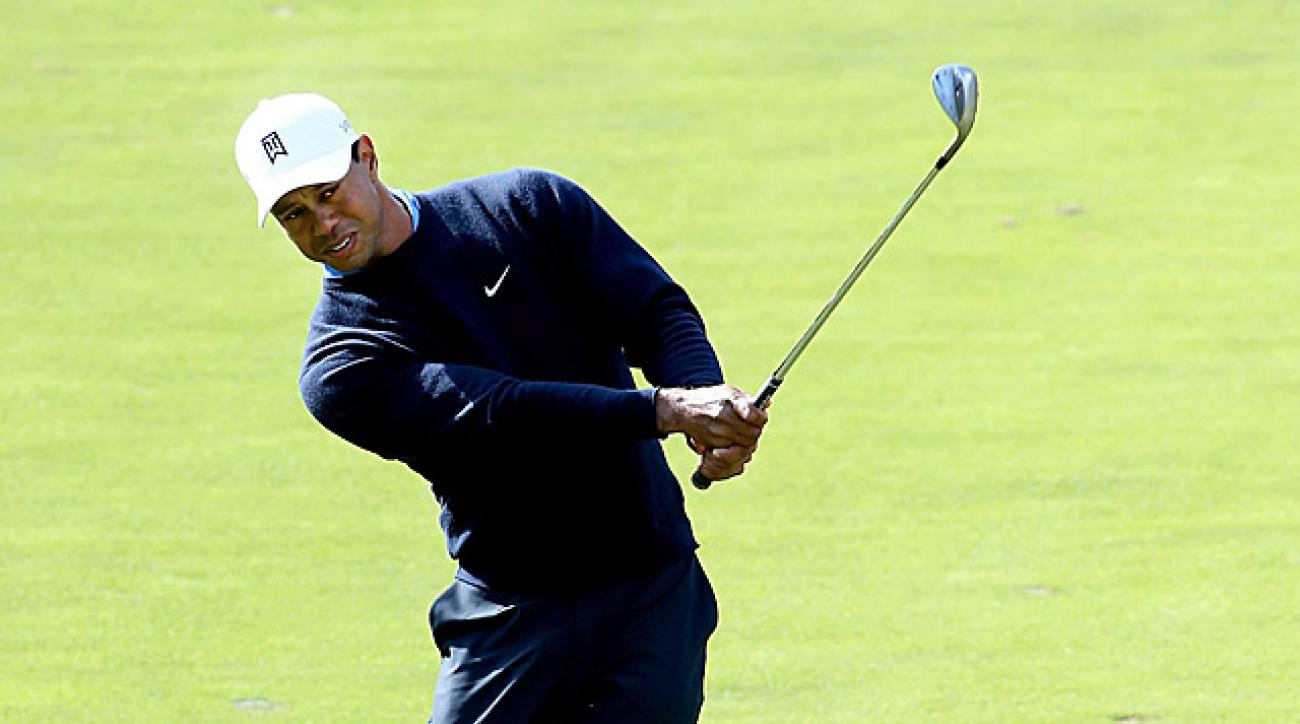 Tiger Woods trails by four after an opening-round 71.