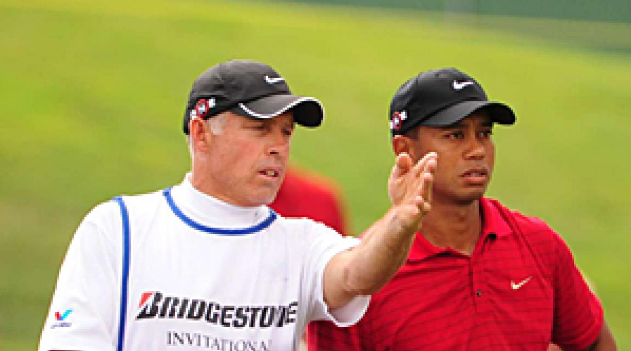 Steve Williams with Tiger Woods at the 2009 WGC Bridgestone Invitational.