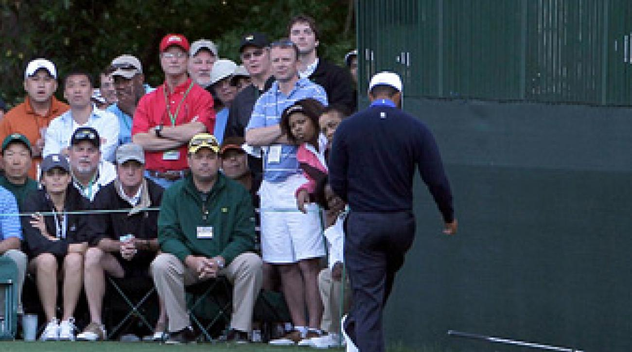 Tiger Woods kicked his club Friday after a poor shot on No. 16.