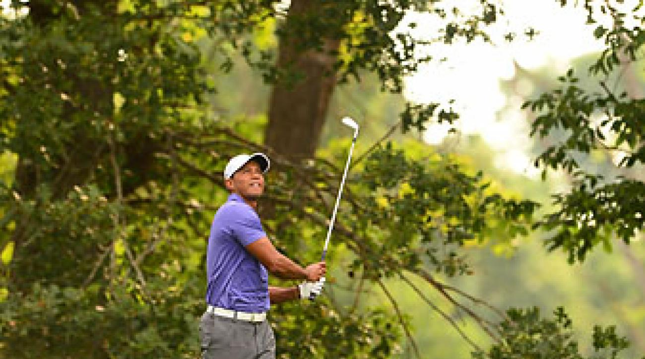 Tiger Woods during the first round of the PGA Championship. Woods didn't make the cut and failed to qualify for the FedEx Cup playoffs.