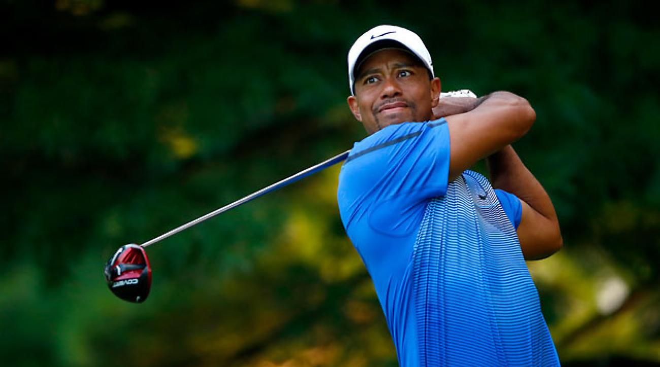 Tiger Woods hit only six fairways during the third round of the Bridgestone Invitational on Saturday.