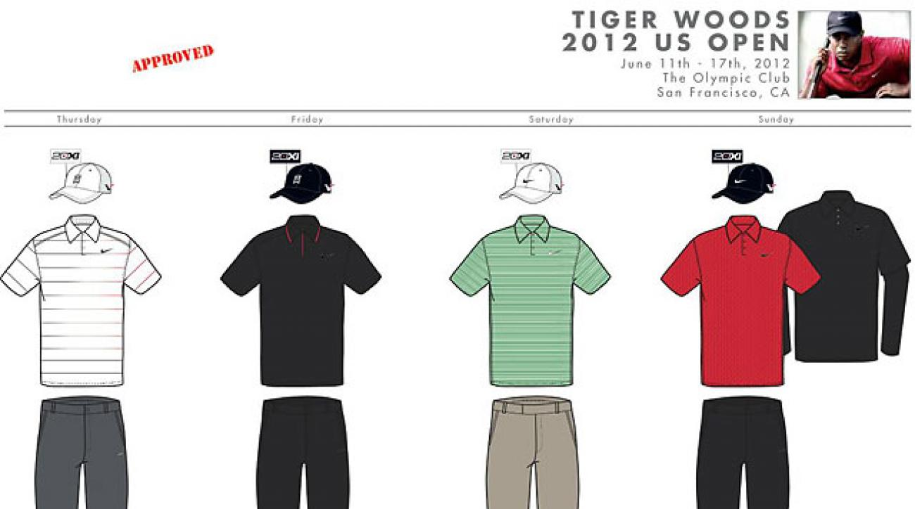 "Tiger Woods will be wearing these combinations during this week's U.S. Open. <strong><a href=""http://www.golf.com/photos/us-open-style-gallery/tiger-woods-us-open-style#node-308104"">See more photos</a></strong>"