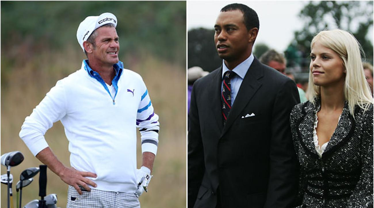 Jesper Parnevik at the 2013 Dunhill Links Championship. Parnevik introduced Tiger Woods and Elin Nordegren, seen here at the 2006 Ryder Cup.