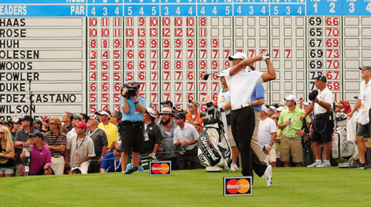 Tiger Woods made a bogey, five birdies and an eagle on Saturday.