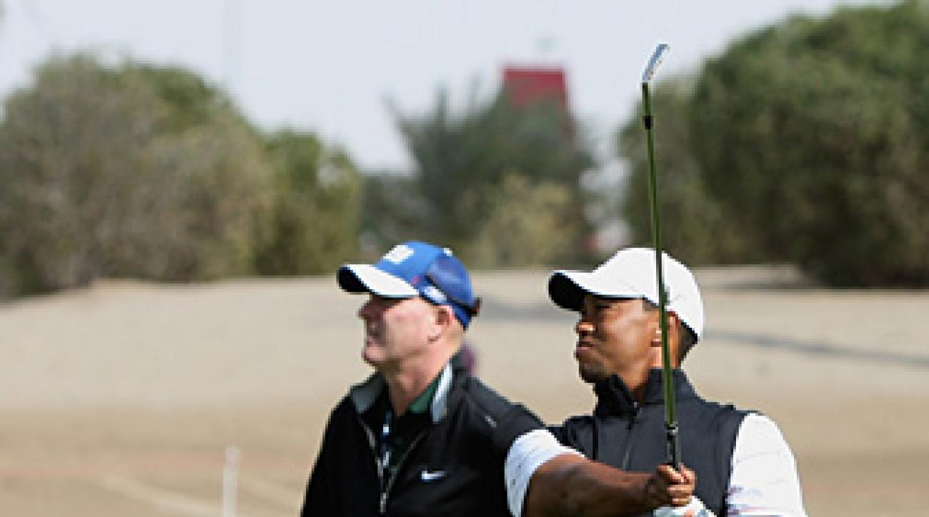 Tiger Woods played a practice round Tuesday with Rory McIlroy.