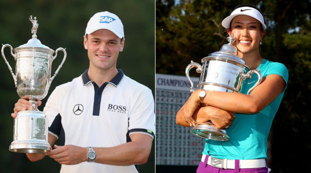 Martin Kaymer and Michelle Wie with their respective U.S. Open trophies after winning at Pinehurst No. 2.