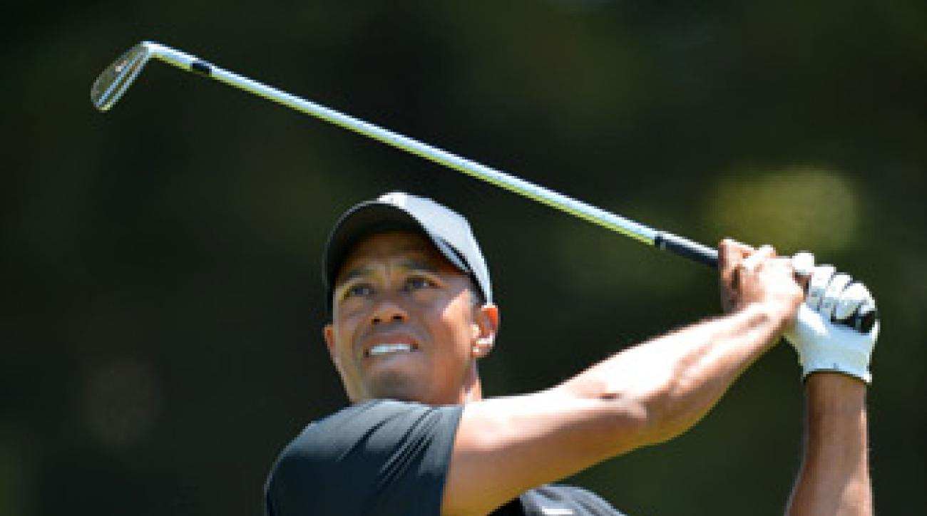 Tiger Woods shot two over on the front nine.