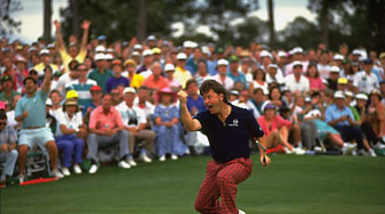 Ian Woosnam makes the winning putt Sunday at the 1991 Masters.