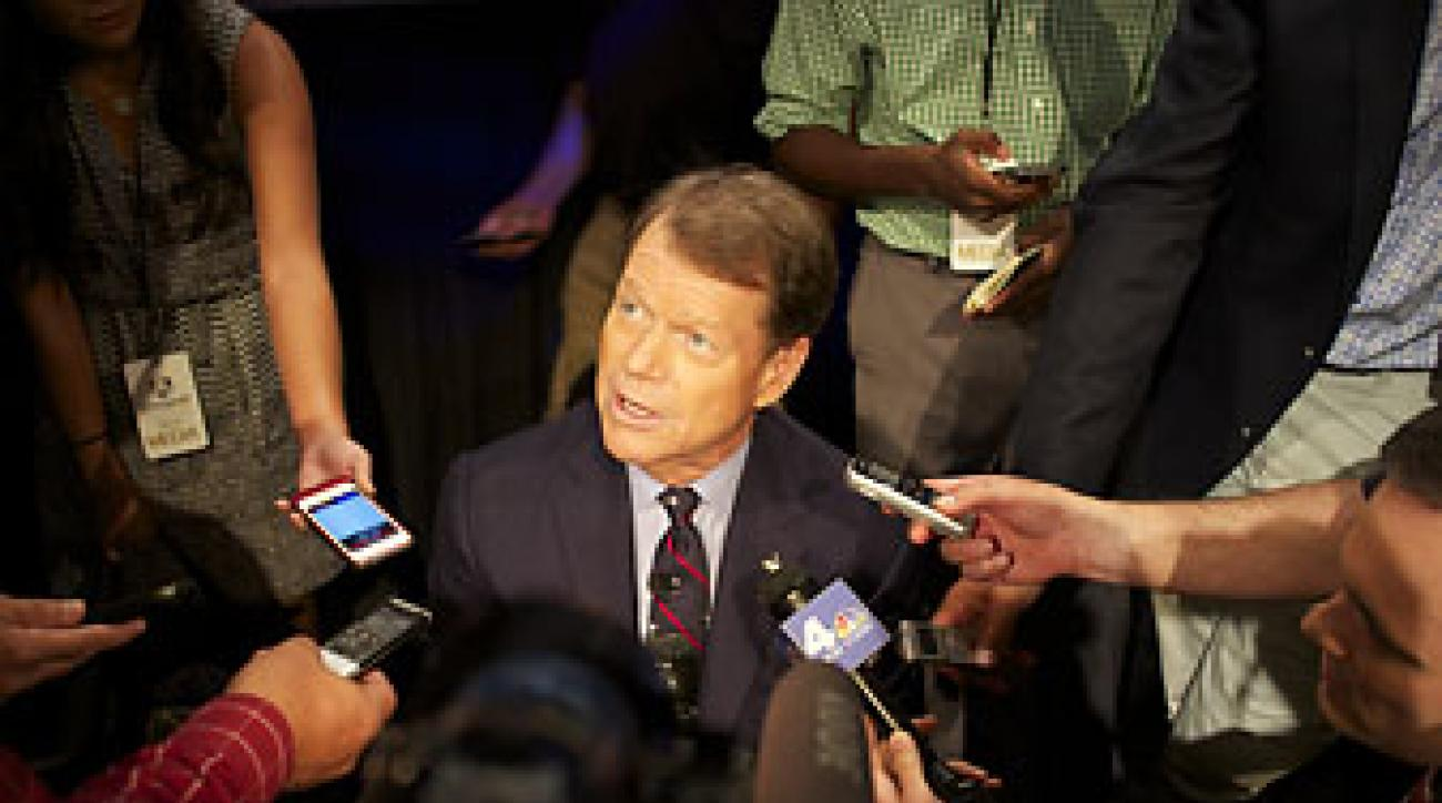 Tom Watson meets with the media after making his Ryder Cup captain's picks at the 'Saturday Night Live' studio in New York City.