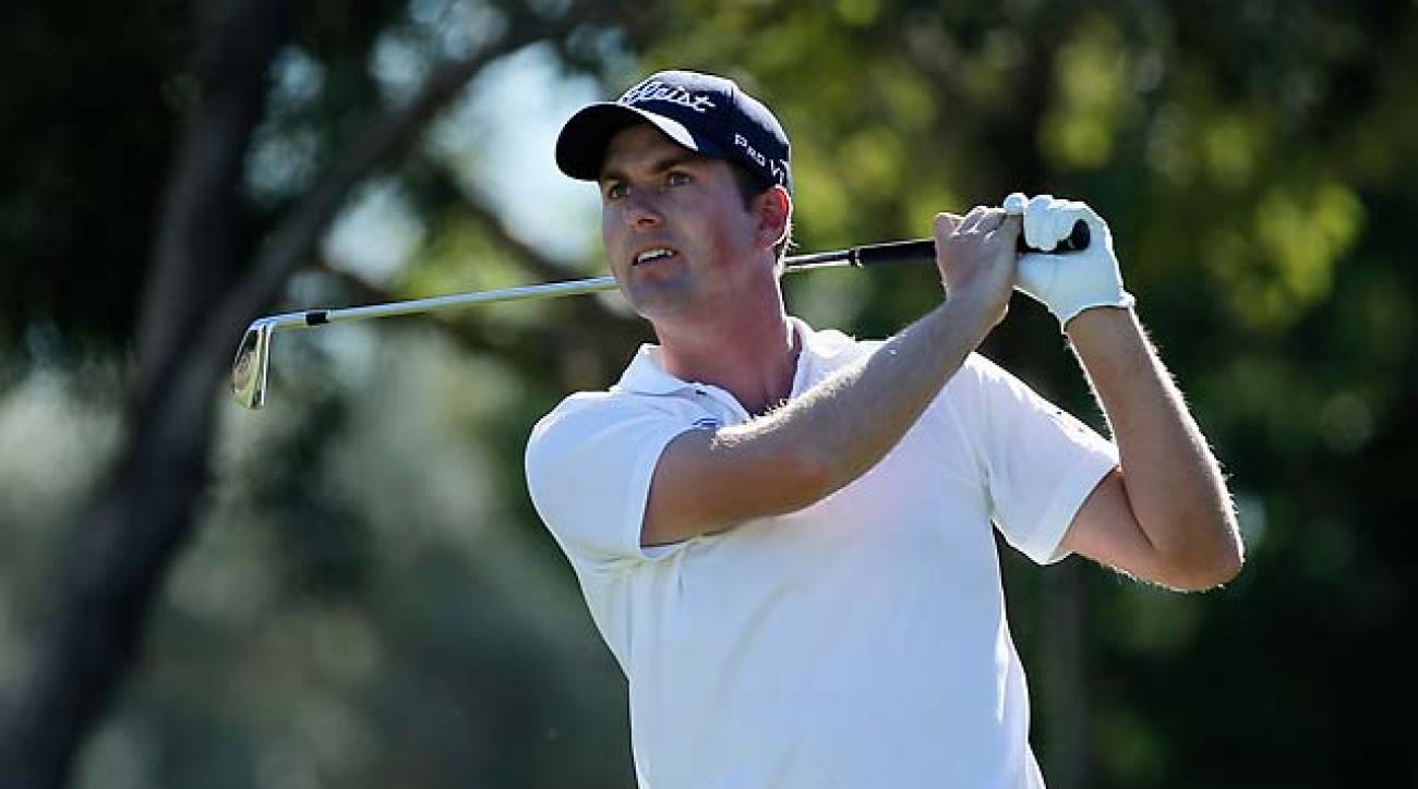 Webb Simpson watches his tee shot on the eighth hole Saturday during the third round of the Shriners Hospitals for Children Open at TPC Summerlin in Las Vegas.