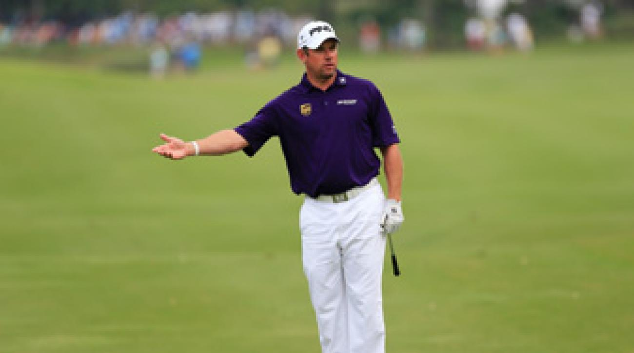 Lee Westwood made two double bogeys on the front nine to drop out of contention.