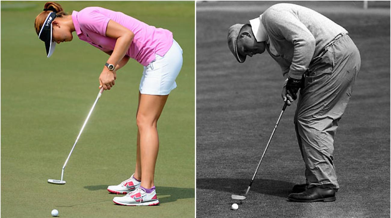 Michelle Wie at the 2014 HSBC Champions and Jack Nicklaus at the 1962 British Open.