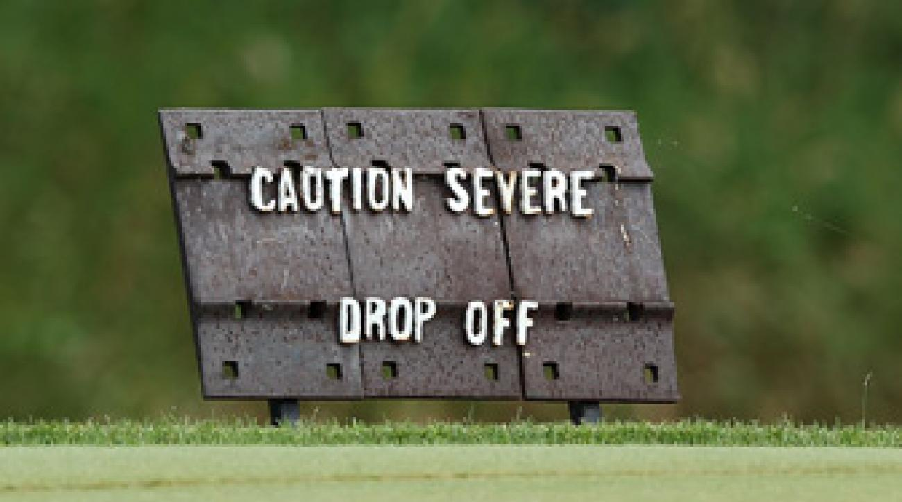 A sign on the 16th hole warns players of the dangers at Blackwolf Run.