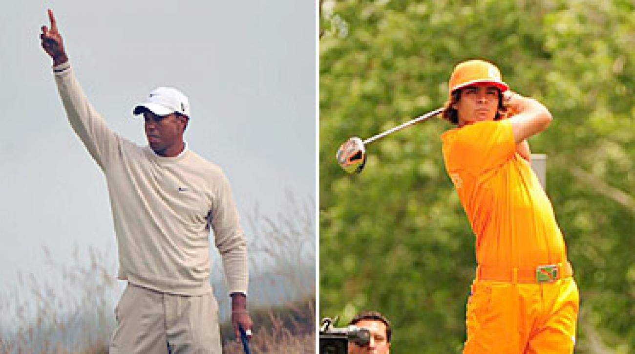COLORING LOOKS: Rickie Fowler (right) turns heads with his orange-on-orange look, but Tiger Woods (left) shows that there's always a place for classic style.